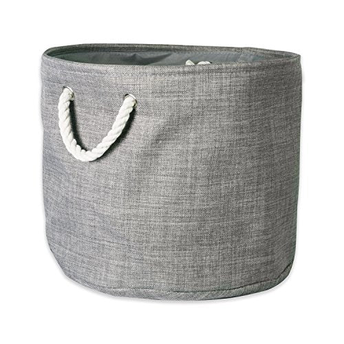 DII 5568 Collapsible Variegated Polyester Storage Bin, Small Round, Gray