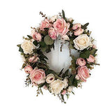 Adeeing 13'' Peony Flower Wreath Handmade Pink Floral Wreath Artificial Spring Garland Wreath for Front Door Wall Wedding Party Home Decor