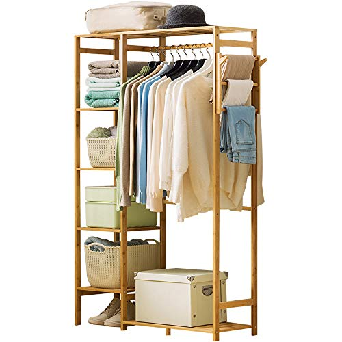 Ufine Bamboo Garment Rack 6 Tier Storage Shelves Clothes Hanging Rack with Side Hooks, Heavy Duty Clothing Rack Portable Wardrobe Closet Organizer