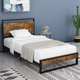 Amolife Twin Bed Frame with Headboard/Platform Metal Bed Frame with Footboard/Mattress Foundation/Strong Slat Support/No Box Spring Needed
