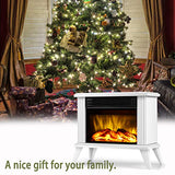 "DONYER POWER 14.5"" Mini Electric Fireplace Tabletop Portable Heater, 1500W, White Metal Frame,Room Heater,Space Heater,Gift"