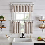 "Elrene Home Fashions Tucker Ticking Stripe Window Kitchen/Café and Bath Tier Set of 2, 30"" W x 36"" L, Linen"