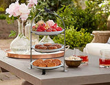 Tiered Serving Stand Includes 1 Neutral Antique Finished Wrought Iron Stand and 3 Premium FDA-Approved Stoneware Plates