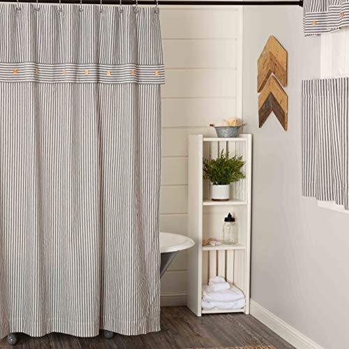 Piper Classics Farmhouse Ticking Stripe Gray Shower Curtain, 72