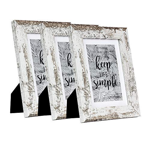 HomeMe 5x7 White Picture Frame 3 Pack - Made to Display Pictures 4x6 with Mat or 5x7 Without Mat - Wide Molding - Wall Mounting Material Included …