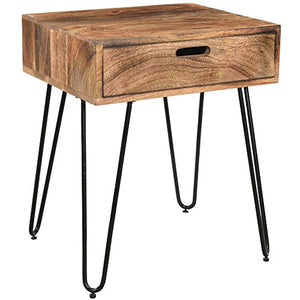 Whi Solid Wood Accent, Side, Bedside Storage TABLE, NATURAL BURNT