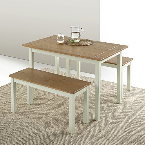 Zinus Becky Farmhouse Dining Table with Two Benches - 3 piece set