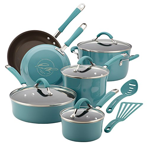 Rachael Ray 16344 Cucina Nonstick Cookware Pots and Pans Set, 12 Piece, Agave Blue