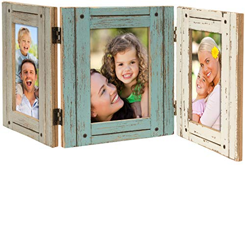 Excello Global Products Hand Painted Rustic Three Picture Frame: Holds Three 4x6 Photos - EGP-HD-0023