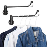 Mkono 2 Pack Wall Mounted Clothes Hanger with Swing Arm Holder Metal Hanging Drying Rack Space Saver for Closet Organizer, Bathroom, Bedroom, Laundry Room, Black