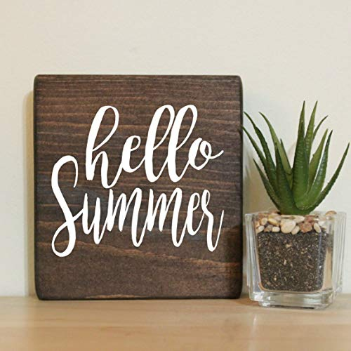 Hello Summer Small Rustic Wooden Sign 5