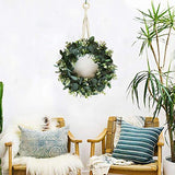 "FLORLAB Artificial 16"" Eucalyptus Wreath Floral Garland for Summer Fall & Spring Good for Porch Farmhouse Patio Garden Perfect Flower Decoration for Home Front Door Wall Decor Indoors & Outdoor"