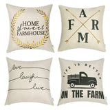 WLNUI Set of 4 18x18 Linen Decorative Pillow Covers