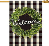 ORTIGIA Small Boxwood Wreath Welcome Garden House Flag Vertical Double Sided,Summer Spring Buffalo Check Plaid Farmhouse Rustic Burlap Yard Outdoor Decoration,Seasonal Outdoor Flag 28 x 40inch