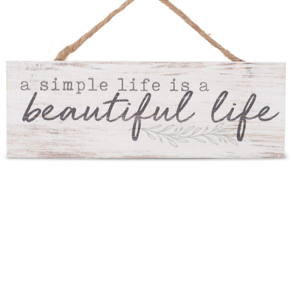P. Graham Dunn Simple Life Beautiful Life Whitewash 10 x 3.5 Inch Pine Wood Slat Hanging Wall Sign