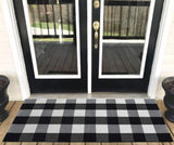 Levinis Buffalo Plaid Rug Outdoor - Retro Farmhouse Tartan Checkered Plaid Rug Black and White Hand-Woven Washable Floor Rugs for Kitchen/Bathroom/Entry Way/Laundry Room, 23.6'' x 51.2''