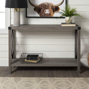 WE Furniture Barnwood Farmhouse Sqaure Accent Entryway Table, 46 Inch, Grey