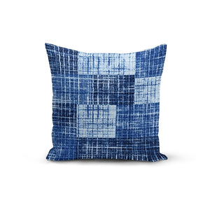 Blue Textured Throw Pillow Cover