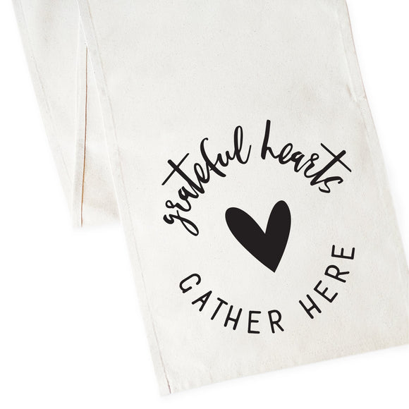 Grateful Hearts Gather Here Cotton Canvas Table Runner