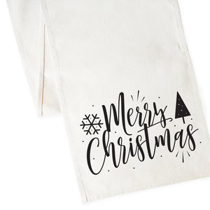 Merry Christmas Cotton Canvas Table Runner