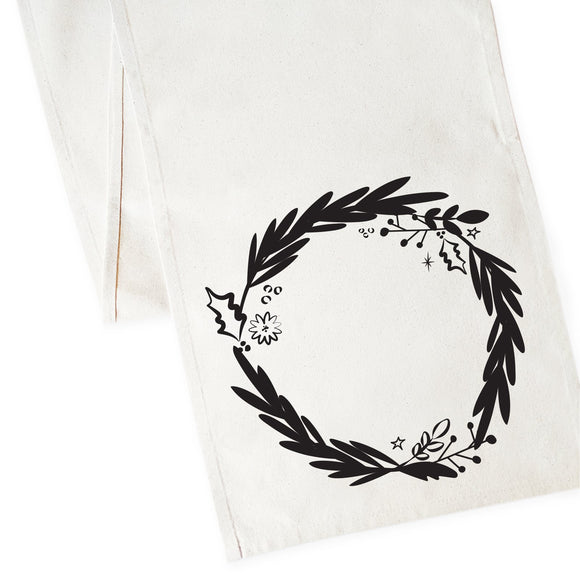 Christmas Wreath Cotton Canvas Table Runner