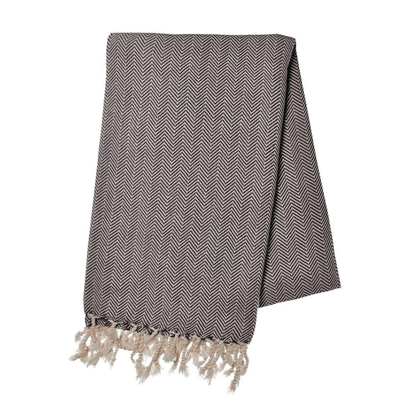 Black Herringbone Turkish Towel