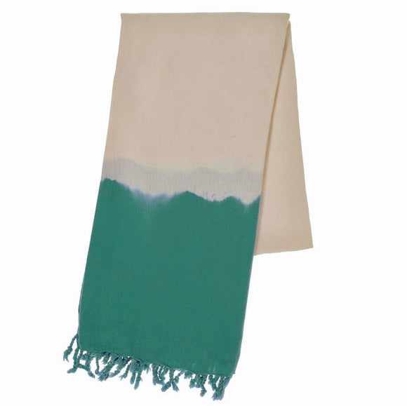 Teal Dip Dye Turkish Beach Towel