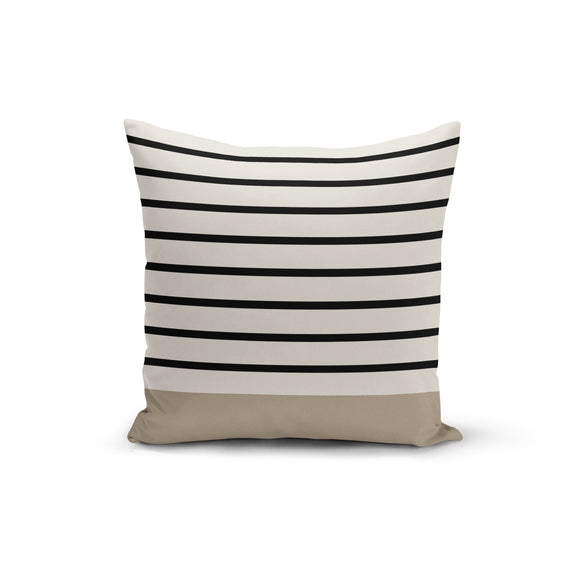 Black Stripe Earth Throw Pillow Cover