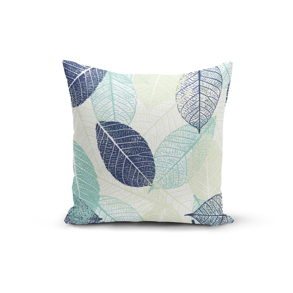 Blue Teal Leaves Throw Pillow Cover