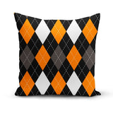 Orange Black Argyle Throw Pillow Cover