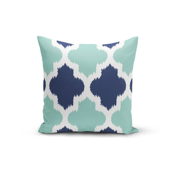 Teal Blue Geometric Throw Pillow Cover