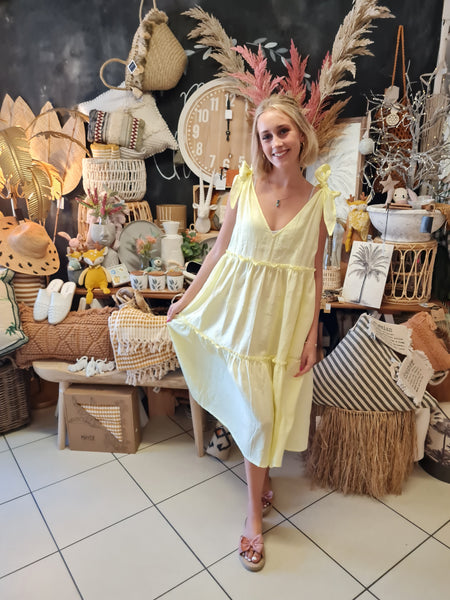 Lemon Yellow Linen Summer Dress - Coastalfunk