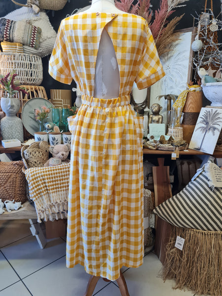Mustard Check Maxi Dress - Coastalfunk