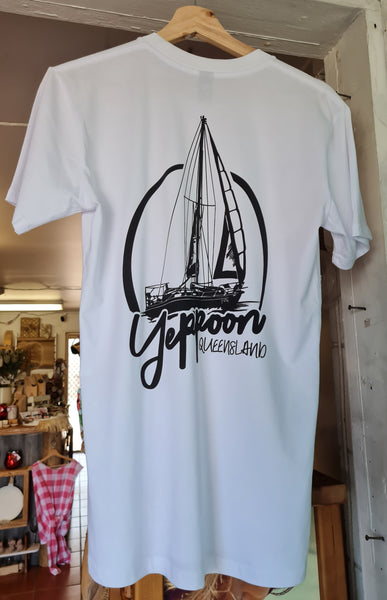 Yeppoon Sailing Yacht Tee, White - Coastalfunk