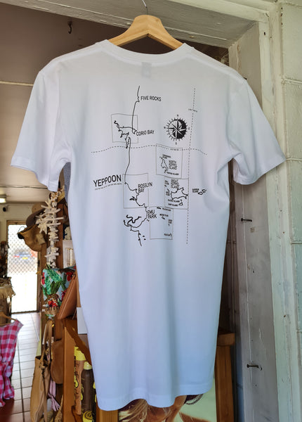 Yeppoon Latitude + Longitude Tee, White - Coastalfunk