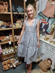 Nautical Navy Stripe Linen Summer Dress - Coastalfunk