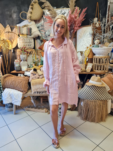 Luxe Pink linen Dress - Coastalfunk