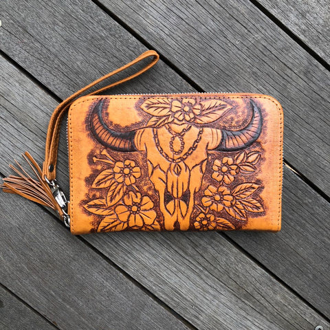 Hand Tooled Buffalo Zip Round Wallet - Coastalfunk