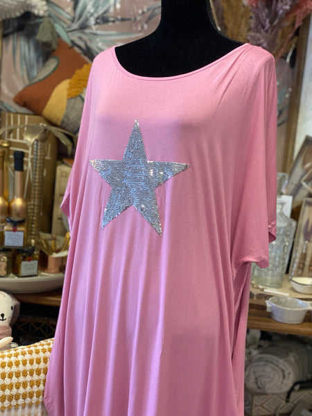 Jersey Dress with Sequin Star Pink