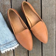 Leather Pointed Loafers Camel