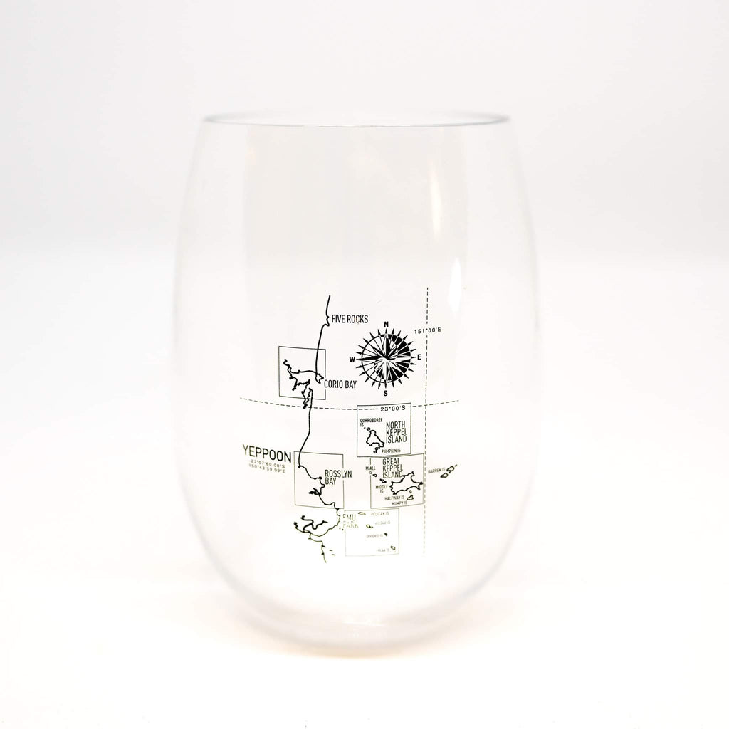 Stemless unbreakable drinkware Yeppoon map