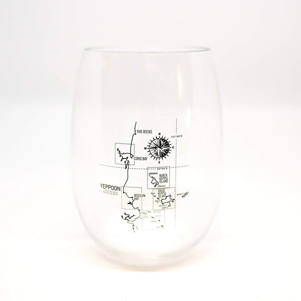Stemless unbreakable drinkware Yeppoon map - Coastalfunk