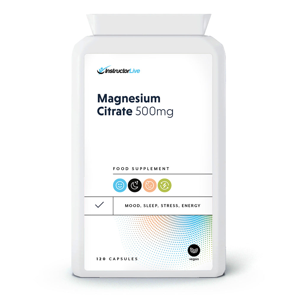 Magnesium Citrate 500mg Food Supplement - 120 Capsules