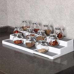 Expandable Spice Rack three tier with rubber lined shelves