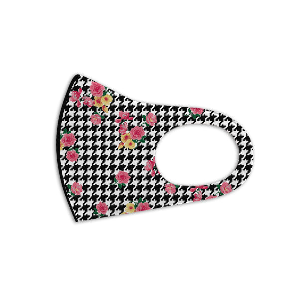 Floral Houndstooth Aerosilver Enhanced Antibacterial Reusable&Washable Everyday Face Mask Unisex (2 masks) - DrStayClean