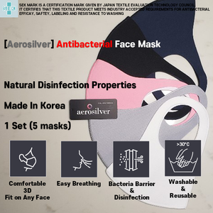 [50 MASKS BULK ORDER] Aerosilver Enhanced Antibacterial Reusable&Washable Everyday Face Mask Unisex (50 Masks) / No Packaging - DrStayClean
