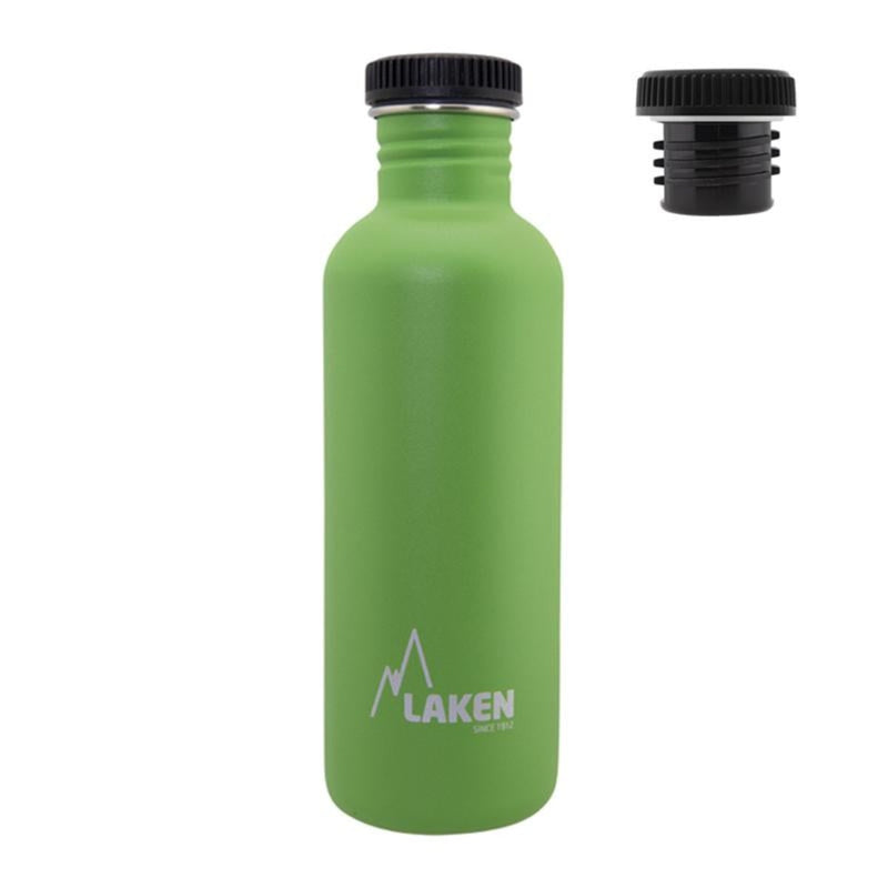 Laken Basic Steel 1L Botella en Acero Inoxidable 18/8, Tapón Rosca Negro