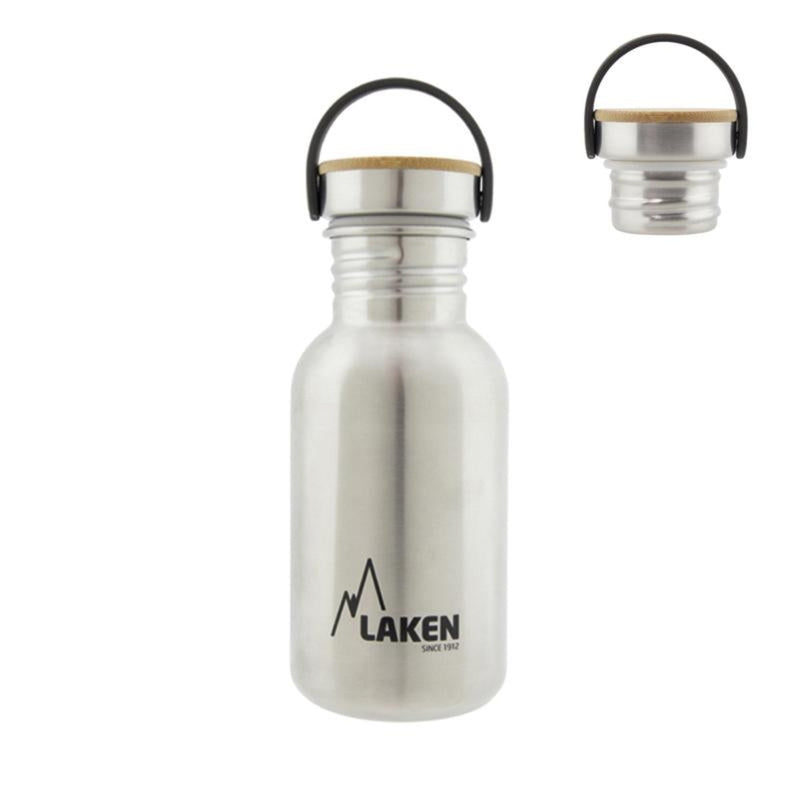 Laken Basic Steel Bamboo 0.50L Botella en Acero Inoxidable 18/8, Tapón Rosca