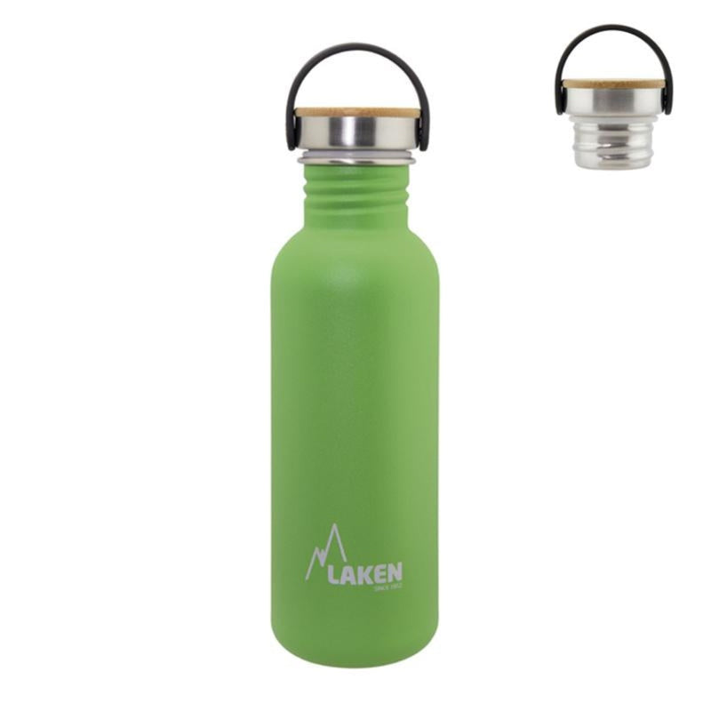 Laken Basic Steel Bamboo 0.75L Botella en Acero Inoxidable 18/8, Tapón Rosca