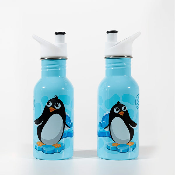 Water Revolution - Botella Infantil de Acero Inoxidable 500 ml. Sport Kids Penguin